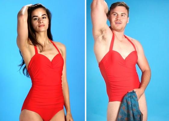 Lachen: mannen in bikini
