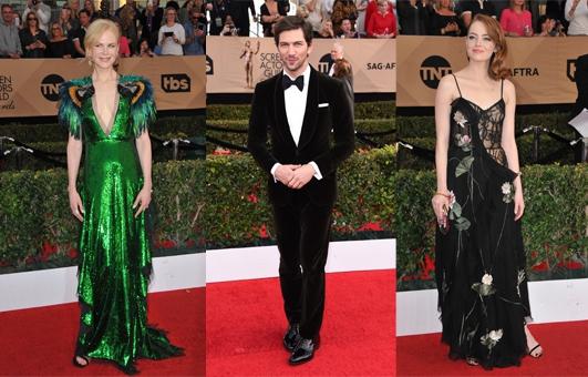 SAG Awards 2017: Kleurrijke jurken en doorzichtige stoffen overheersen de rode loper