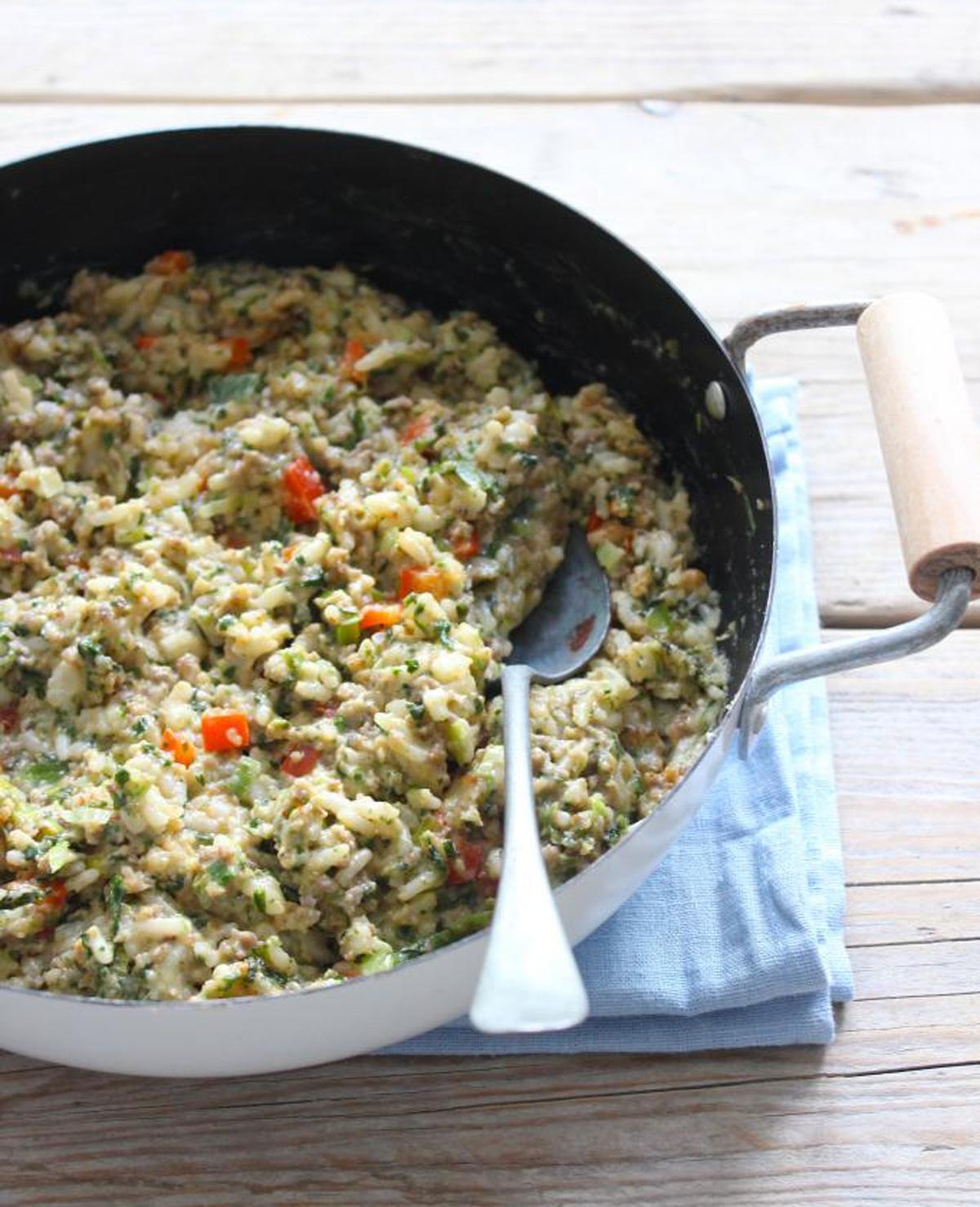Romige rijstschotel