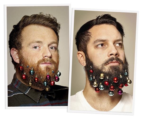 TREND: Mannen hangen kerstballen in hun baard