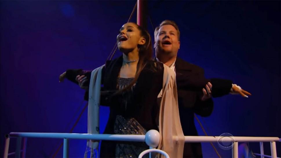 Feest om naar te kijken: Ariana Grande en James Corden doen 'Titanic: de musical'