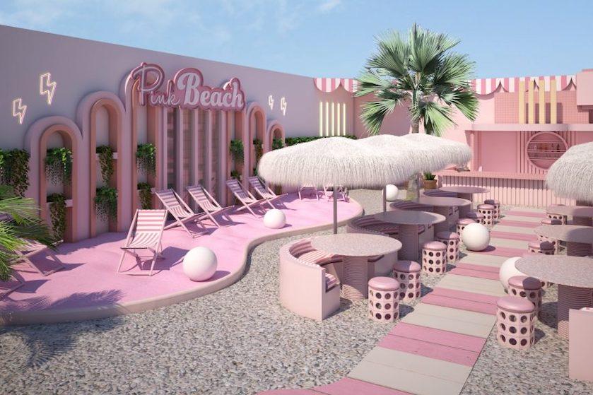 Wil je naartoe: dit roze strand in Amsterdam opent bíjna en is nu al een droom die uitkomt