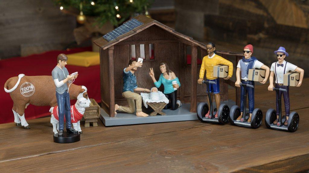 Hilarisch! Deze moderne kerststal is perfect voor hipsters