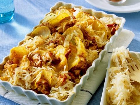 Recept: kip-aardappelgratin met zuurkool