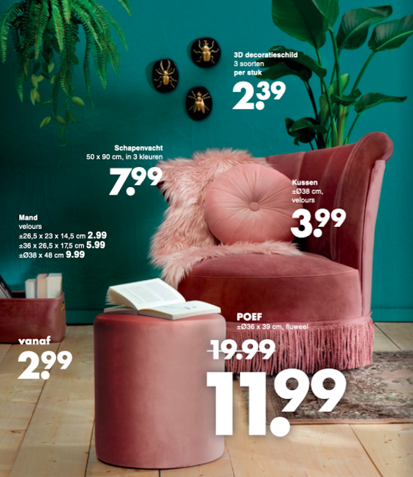 Wibra roze velvet meubels