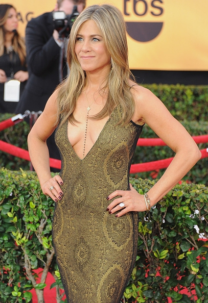LOS ANGELES, CA - JANUARY 25: Actress Jennifer Aniston arrives at the 21st Annual Screen Actors Guild Awards at The Shrine Auditorium on January 25, 2015 in Los Angeles, California. (Photo by Jon Kopaloff/FilmMagic)