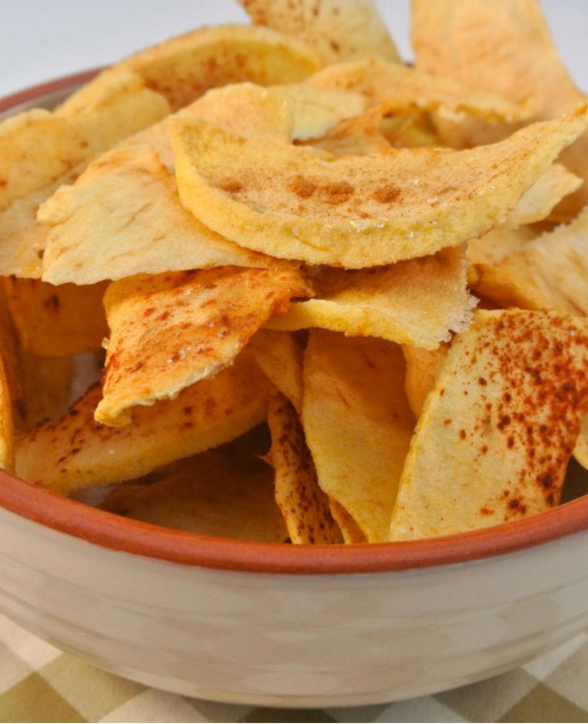 Zelfgemaakte appelchips