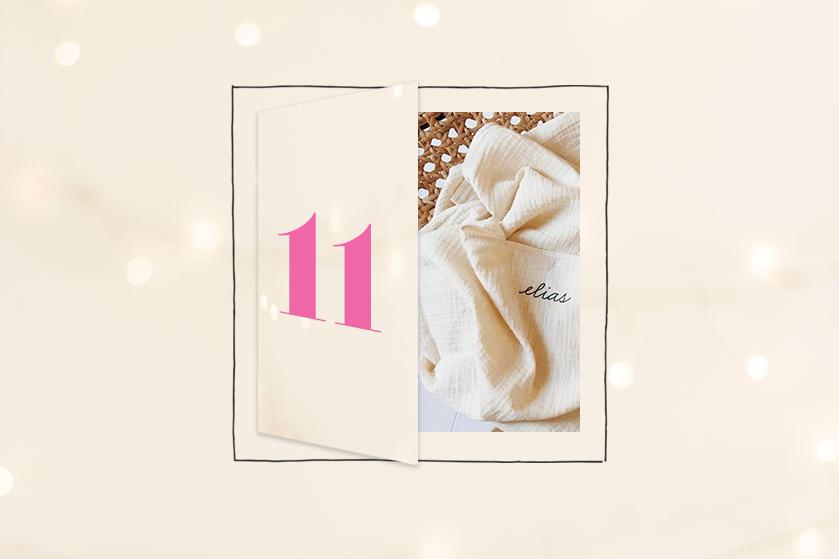 Flair's Adventskalender 2020 #11: win 2x een met babynaam gepersonaliseerde swaddle van Atelier An.nur