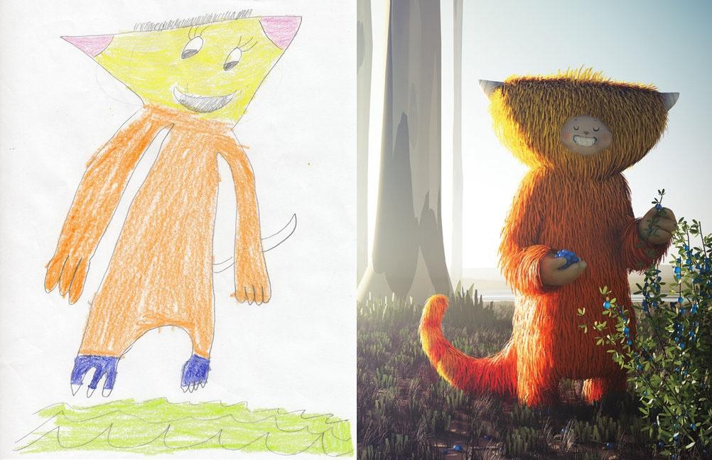 Zien: kunstenaars herinterpreteren kindertekeningen en het resultaat is fantastisch!