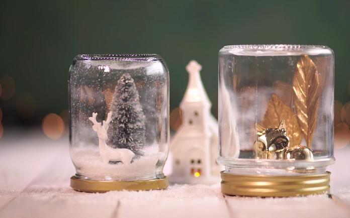 Zien: maak je eigen sneeuwbol van een oud jampotje