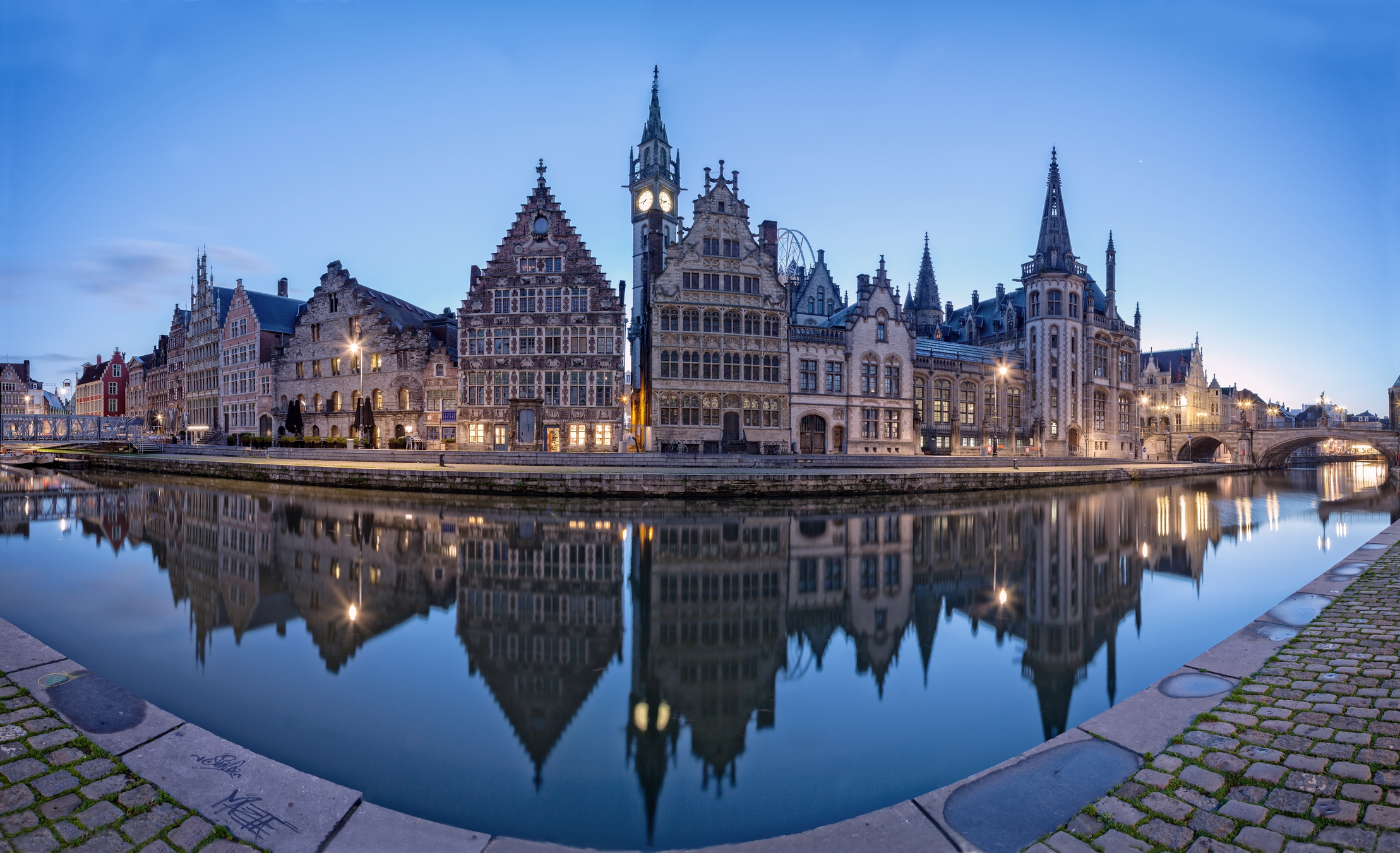Graslei - a medieval port in Ghent before sunrise