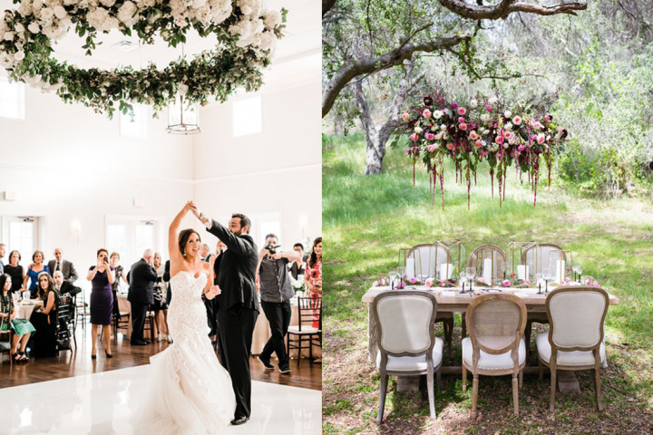 Vergeet flower walls, flower chandeliers zijn dé eyecatchers op elke bruiloft