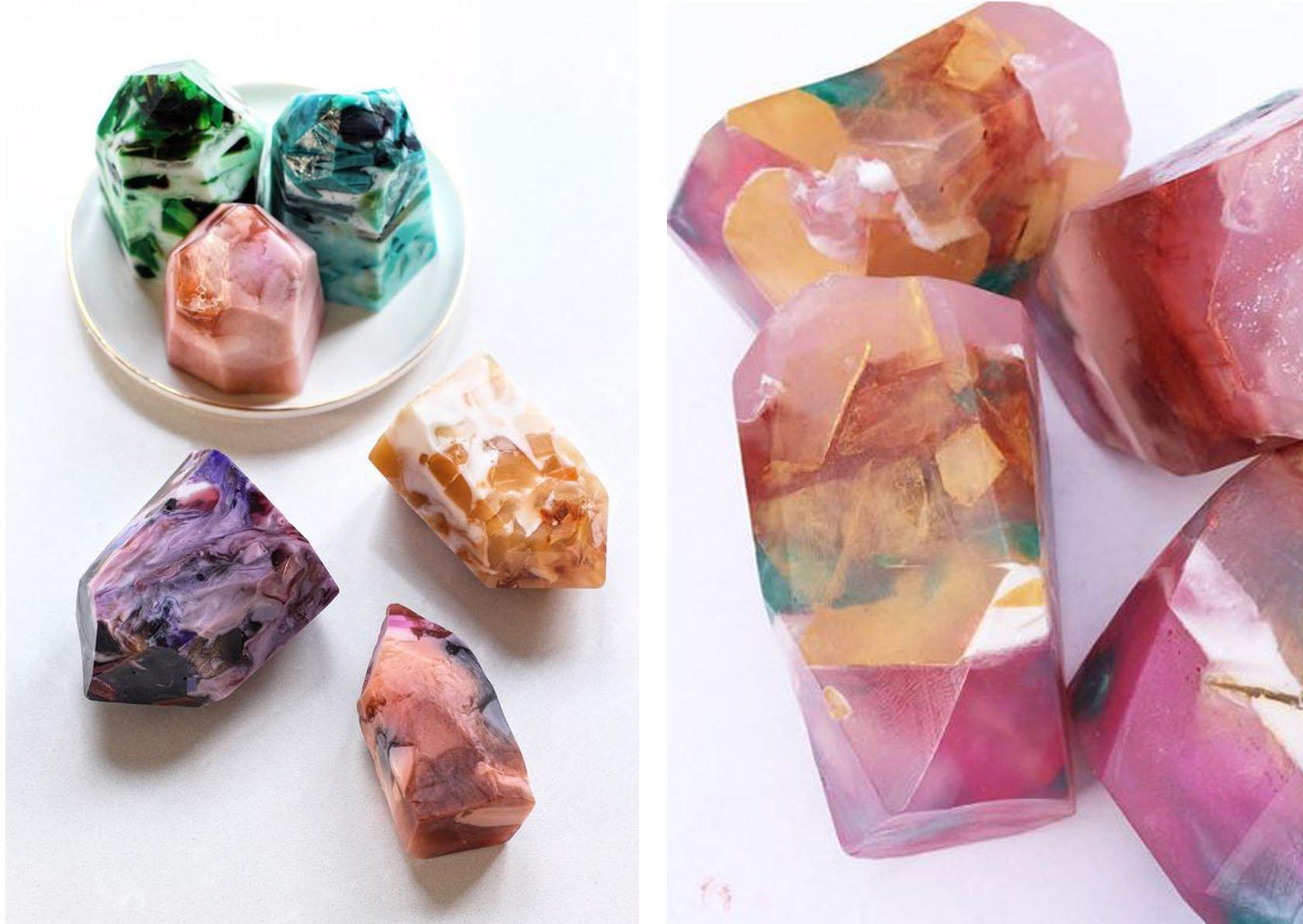 WOW: deze prachtige edelsteenzeepjes kun je zelf maken!