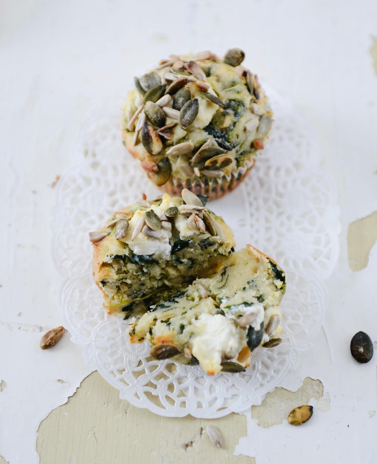 Cupcakes met spinazie en ricotta