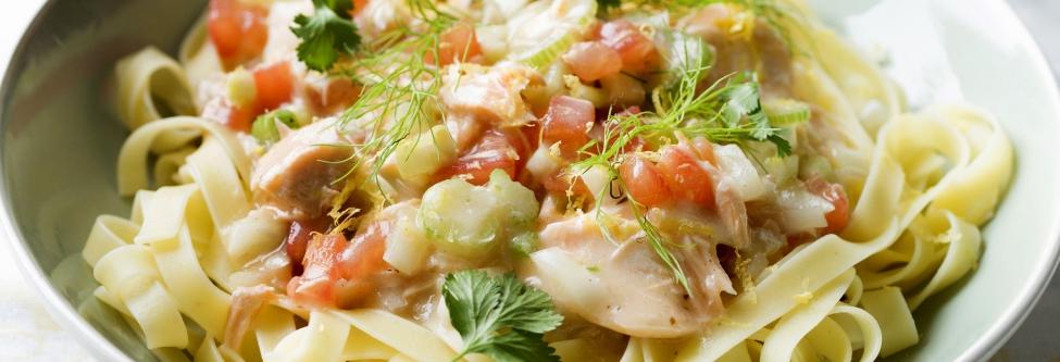 Recept: linguine met zalm en venkel
