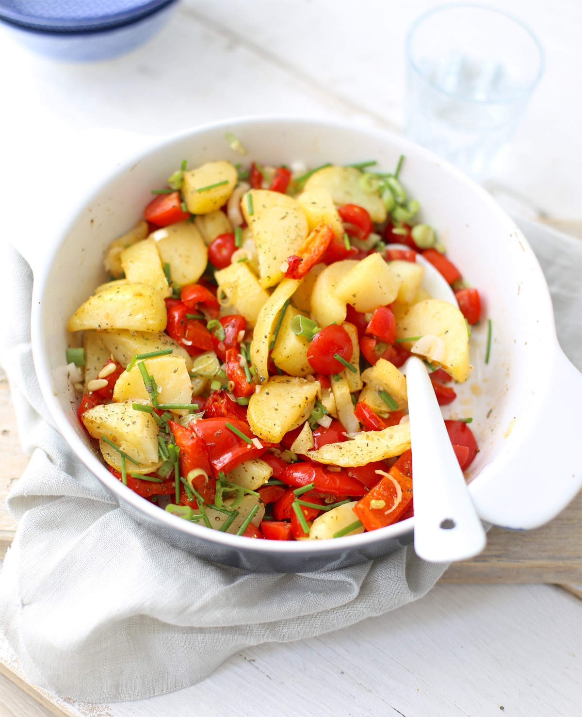 Aardappelsalade met geroosterde paprika