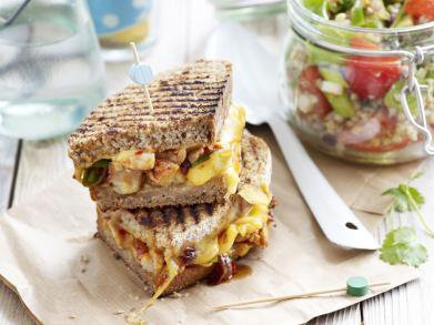 Recept: bbq chicken-grilled cheese-sandwich