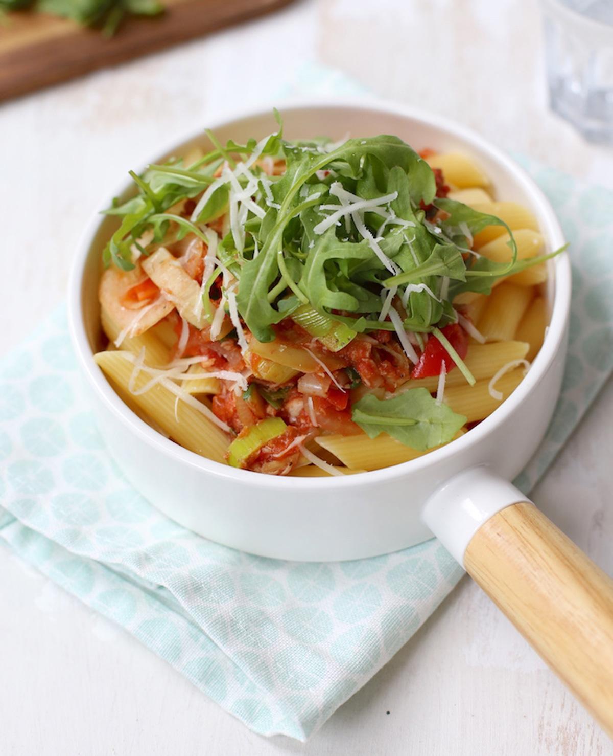 Pasta met tonijn en groente
