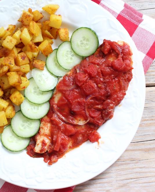 Vis met tomaat uit de oven