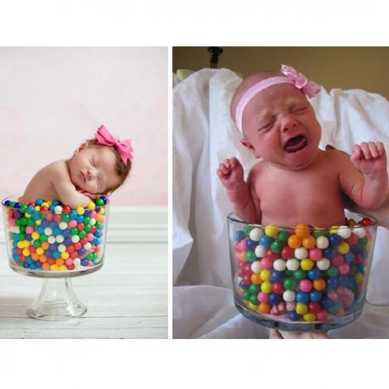 Babyfoto's: de verwachting vs. de realiteit