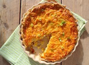 Taart met aardappel, bosui en kip